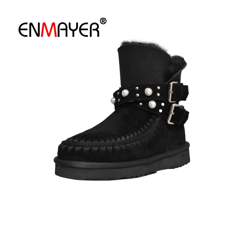 ENMAYER Women Ankle Boots Fashion shoes Round toe Snow Boots Lady shoes Low heels Shoes Size 34-40 Causal Winter Warm CR1925 enmayer shoes woman supper high heels ankle boots for women winter boots plus size 35 46 zippers motorcycle boots round toe