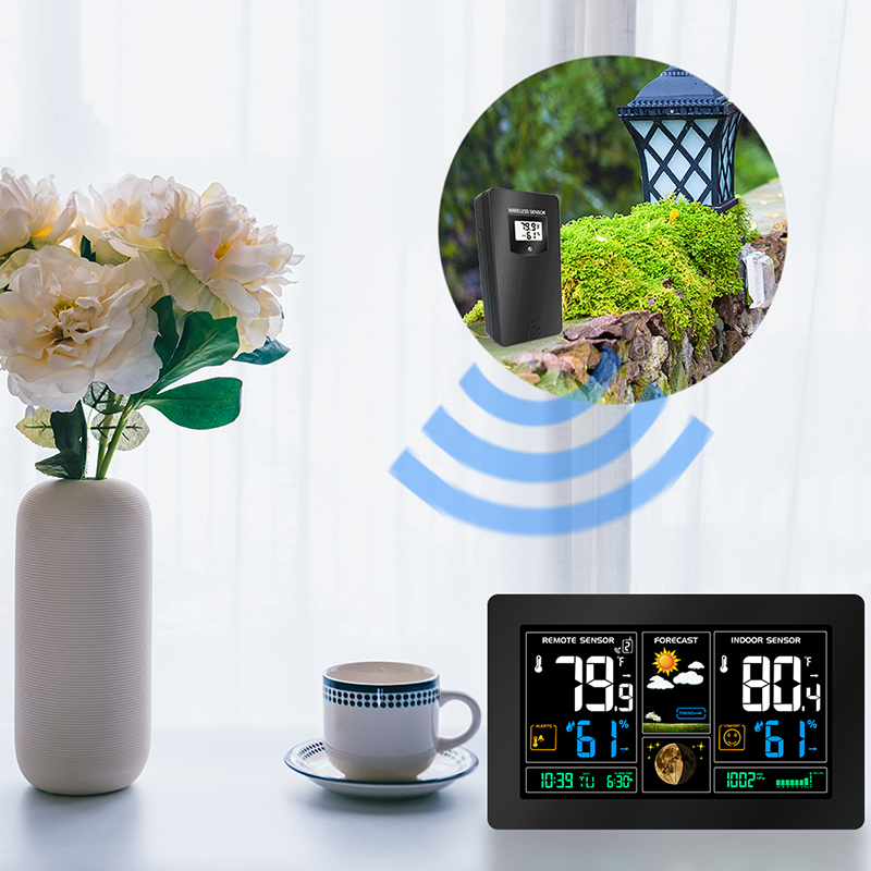 Weather Station Digital Color Forecast Station with Alert 2 Outdoor Sensor Temperature Humidity Barometer Alarm Moon
