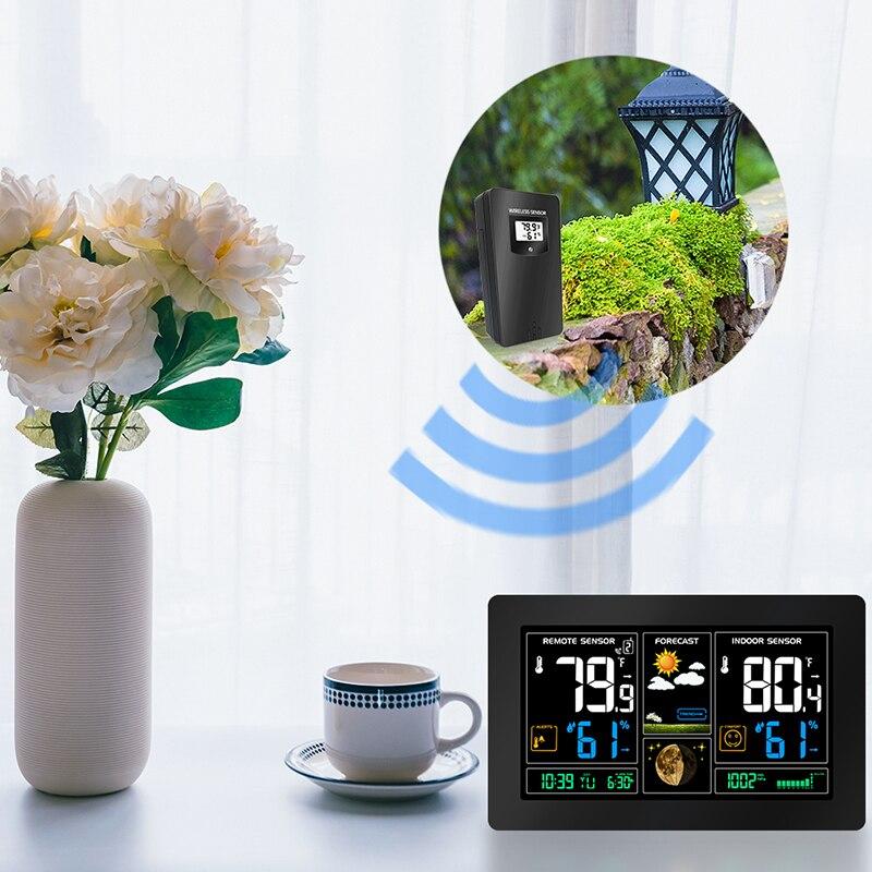 Weerstation Digitale Kleur Station met Alert 2 Outdoor Sensor Temperatuur/Vochtigheid/Barometer/Alarm/Maan fase/-in Wekkers van Huis & Tuin op  Groep 1