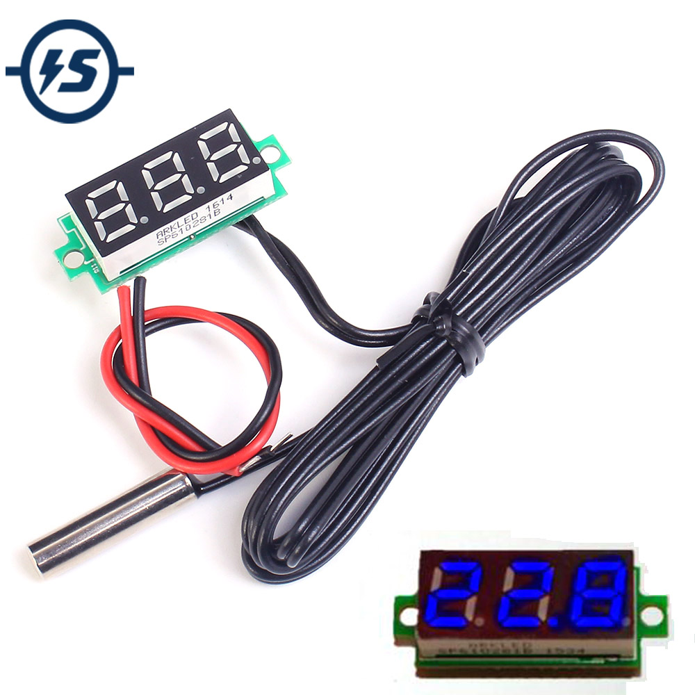 Temperature Sensor Detector Digital Thermometer w/ NTC Metal Waterproof Probe 0.28 Inch Blue <font><b>DC</b></font> 4-28V image