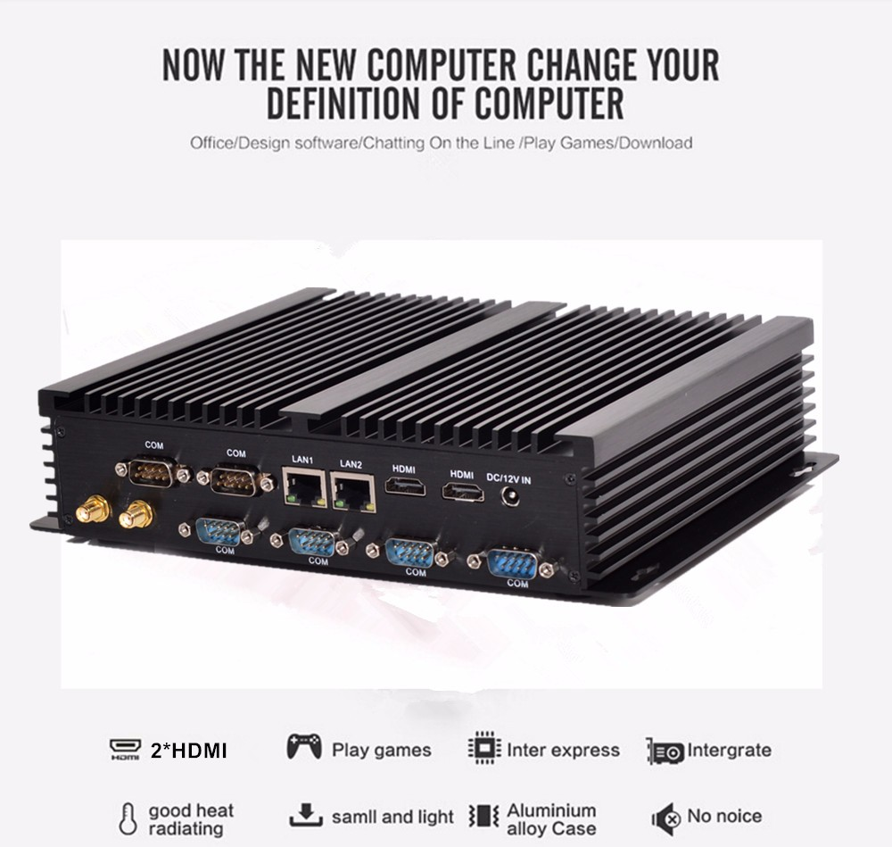 Fanless Industrial Computer Win10 Core I7 5500U 2*Intel Gigabit Lans 6*RS232 8*USB Micro Computer Linux 3G Wifi 2*HDMI