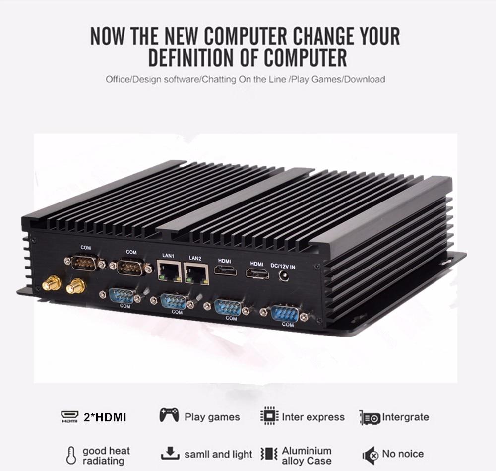 Fanless industrial computer Win10 Core i7 5550U 2 Intel Gigabit Lans 6 RS232 8 USB Micro