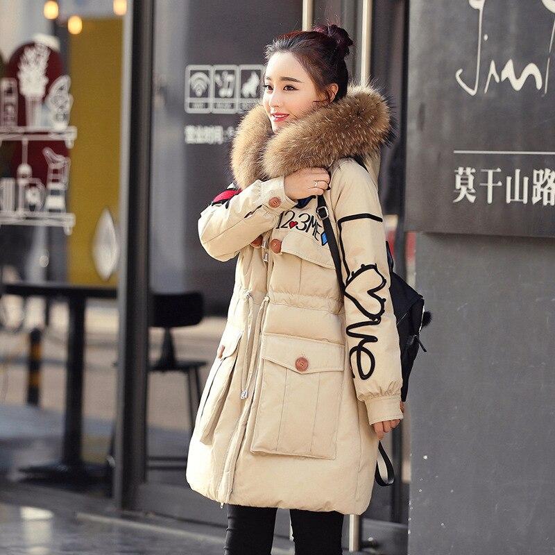 2019 Plus Size Warm Luxury Fur Collar Hooded Parkas Medium Long Slim Down Parka Winter Jacket Women Coat Female Casacos WUJ0517