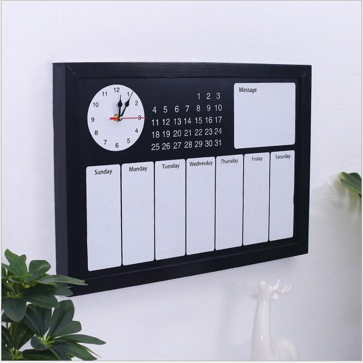 2019 grand mur noir calendrier massif à faire liste hebdomadaire étude famille bricolage planificateur organisateur Agenda panneau décoratif avec horloge