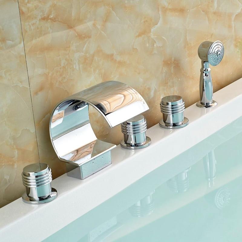 Three Handles 5pcs Bathroom Tub Faucet Brass Chorme Polish Faucet Deck Mounted Mixer Faucet elegant chorme bathroom faucet deck mounted shape faucet three handles mixer tap