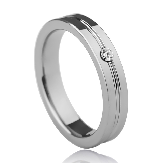 Exceptional Romantic Silver Colors Couplesu0027 Tungsten Wedding Rings CZ Stones Inlay 4mm  For Her 6mm For