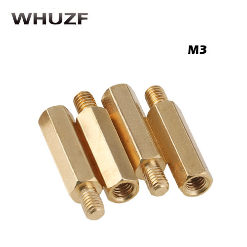 30Pcs <font><b>M3</b></font>*L+3/4/<font><b>5mm</b></font> Hex Head Brass Spacing Wood <font><b>Screw</b></font> Nut Copper Insert Threaded Pillar PCB Standoff Spacer PC Motherboard image
