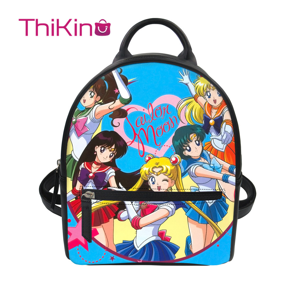 Thikin Sailor Moon Women Mochila Cute Cat Backpack For Teen Girls PU Mini  Leather Schoolbag Student Preppy Style Bag