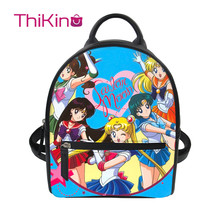 Thikin Sailor Moon Women Mochila Cute Cat Backpack for Teen Girls PU Mini  Leather Schoolbag Student Preppy Style Bag