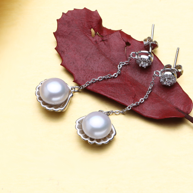 Natural Pearl In Clam Pendant With Sterling Silver Chain & Matching Earrings