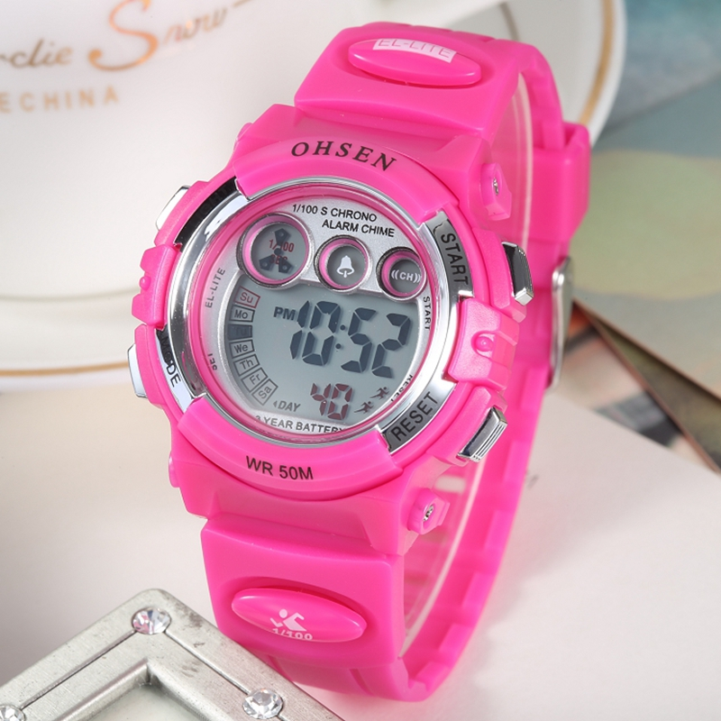 OHSEN Kids Girls Cartoon Digital Silicone Watch Red Strap 50M Diver Children Fashion Child Swimming Wristwatch Alarm Clock Gifts