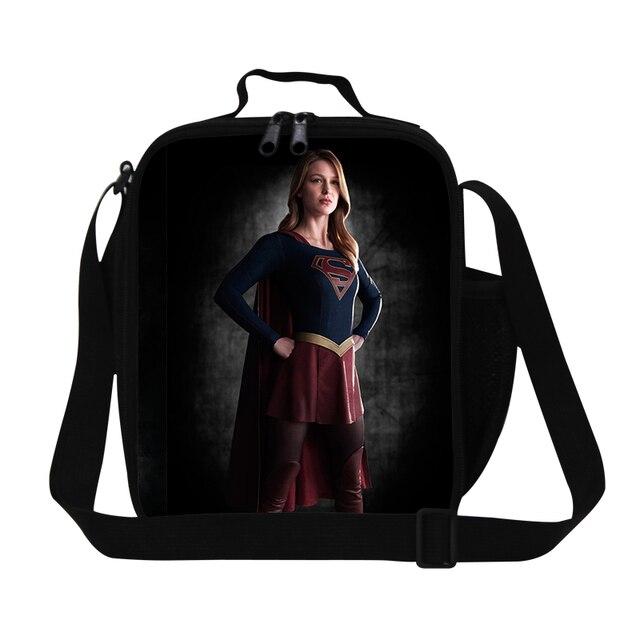"""Супер Девушка изоляцией обед мешок для детей Дети Прохладный Тепловой обед сумка для школы, женщины """"ланч-бокс"""" мешок с ремнями бутылки держатель"""