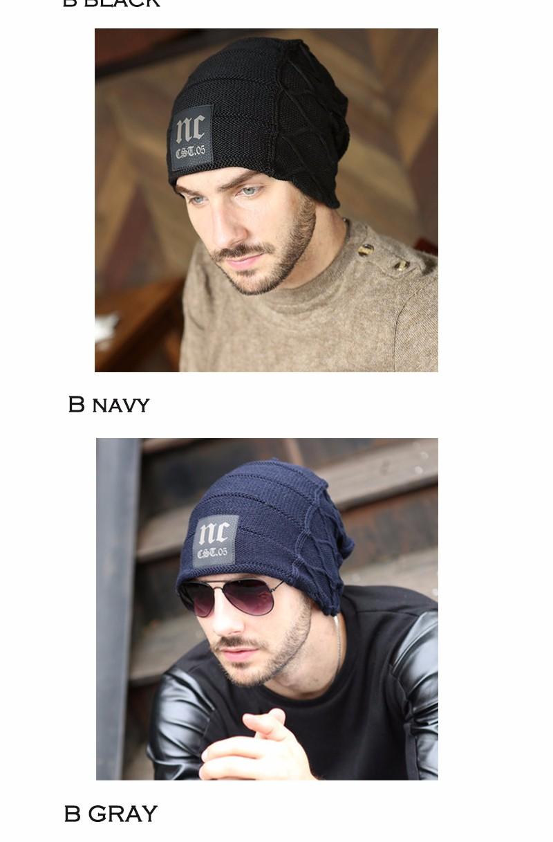FETSBUY Brand Beanies Knit Men'S Winter Hat Caps Thick Skullies Bonnet Hats For Men Women Beanie Female Warm Baggy Knitted Hat 17