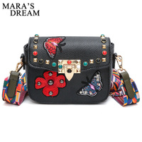 Mara's Dream 2018 Women Messenger Bags Rivet Butterfly Flower Embroidery Crossbody Bag Famous Woman Leather Handbags Purses