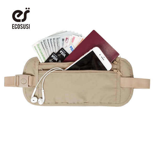 ECOSUSI New Travel Bag Waist Bag Travel Waist Pouch Belt Money Wallet Bags  Passport Holders Change Safe Strap 10b805731710