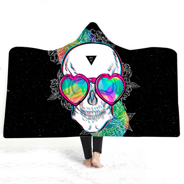 3D SKULL HEAD HOODED BLANKET (3 VARIAN)