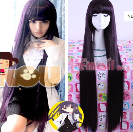 39 100cm Long Purple Black Shirakiin Ririchiyo Straight Anime