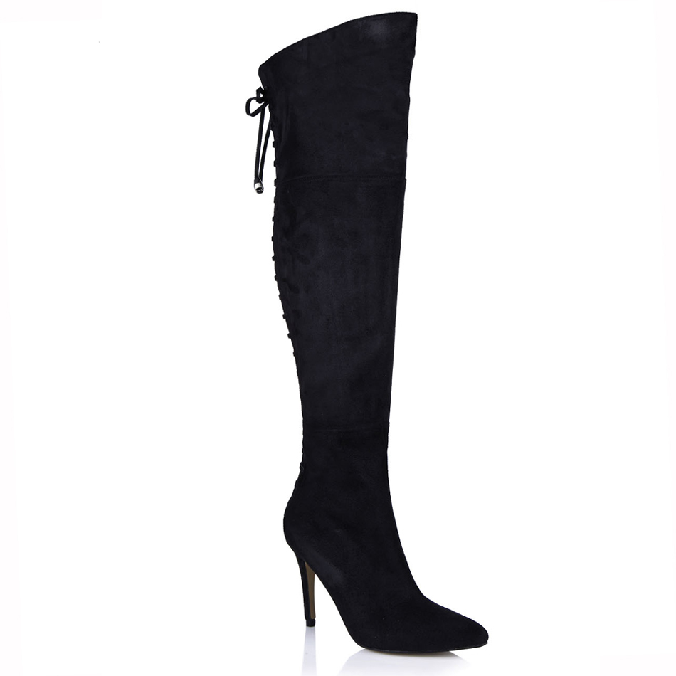 2016 Winter Black Suede Sexy Party Shoes Women Pointed Toe Thin Highs Heel Bandage Over-the-Knee Boots Zapatos Mujer 70887bt-y3
