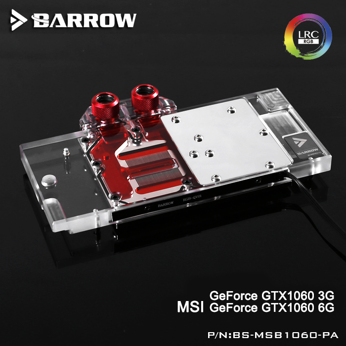 Barrow BS-MSB1060-PA LRC RGB v1/v2 Full Cover Graphics Card Water Cooling Block for MSI GeForce GTX1060 3G/6G саундбар mystery msb 115w