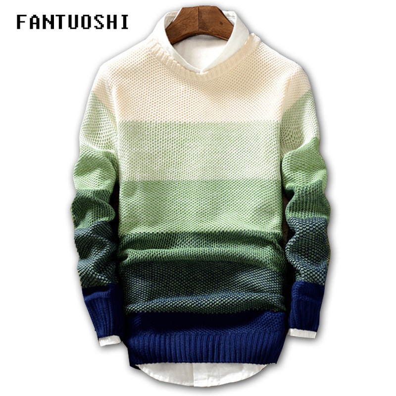 Men Pullover Sweater Long-Sleeve Coat O-Neck Slim-Fit Knitting Autumn Fashion New Spring