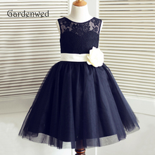 Gardenwed 2019 Navy Blue Lace Flower Girl Dresses Bow Pageant Dresses Little Girls Kids Children Dress for Wedding 2017 cupcake blue crystal flowers baby girl dresses pageant dresses for little girls g284 1