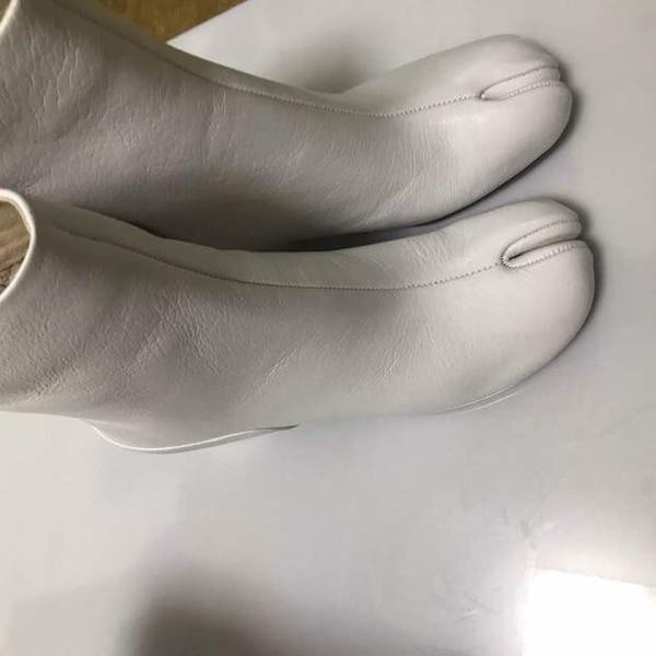 Picture as Botines 2019 Cuir Femme Pour De Verni Courtes Bottes Luxe Tabi Mujer Carré As Talon Picture Bottines En Pluie Noir Haut Épais Bout BSgBnr