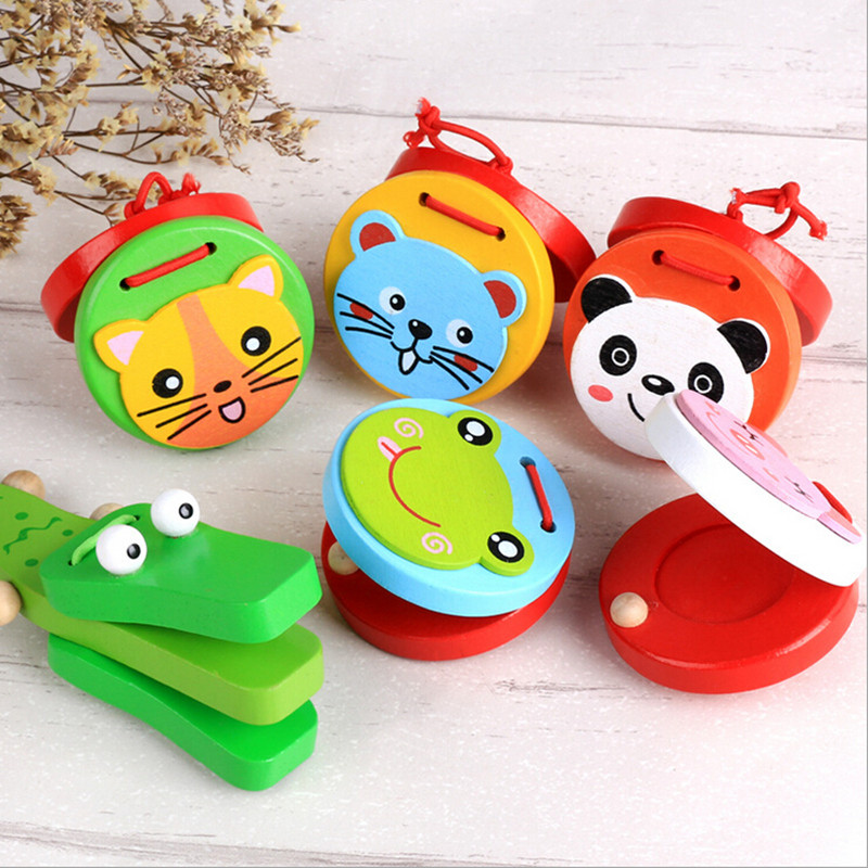 Cartoon Castanets Lovely Baby Wooden Castanet Clapper Handle Musical Instrument Toy Kids Child Preschool Early Educational Toys