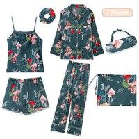 Woman Pajama Set Silk Full Shorts Spaghetti Strap Home Suit Summer Spring Autumn Winter 7 Piece Floral New Female Lovely Pyjamas