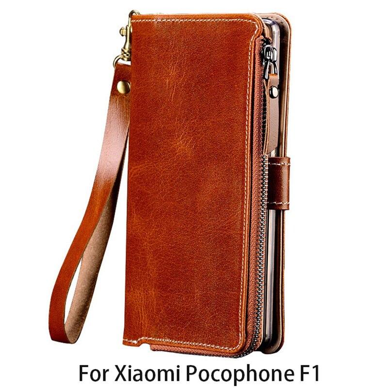 Portefeuille de luxe Étui de Téléphone Pour Xiaomi Pocophone F1 Pour A1 A2 Lite Max 2 3 Mix2s pour Redmi Note 5 fermeture éclair sac Couverture