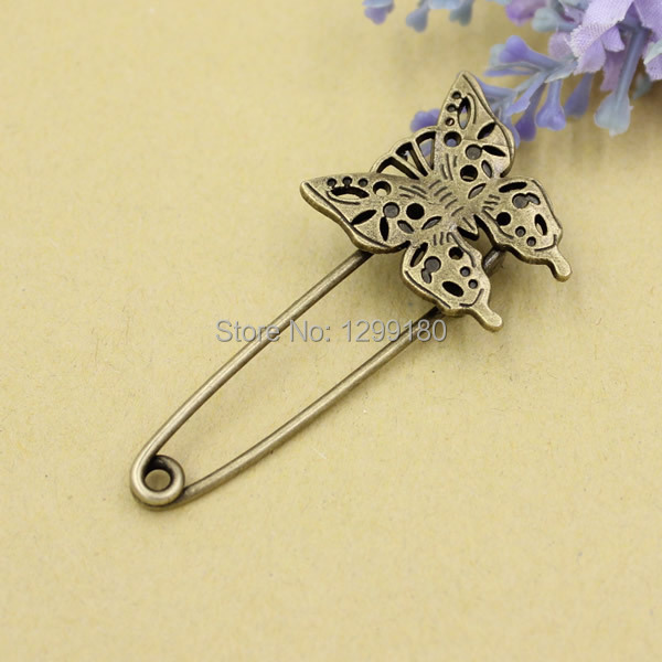 10pcs/lot Alloy Antique Bronze Vintage Animal Brooch Safety Pins For Garment Accessories Scarf Clip pins Length:57mm (K02056)