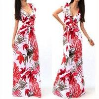 V Neck Neckline Sexy Dress 2017 Free Shipping Sexy Women Summer Boho Long Maxi Dress Beach