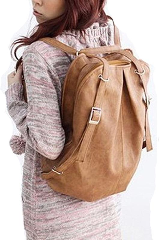 Heba Chic Fashion Korean Style Girls' Pu Leather Backpack School Bag Daily Casual Dual Use Shoulder Bag Women Big Capacity Bag