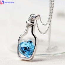 3colors Heart Crystal Pendant Necklace Fashion Creative Women Necklace Ladies Popular Style Love Drift Bottles Pendant Necklace