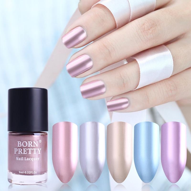 nacido pretty ml efecto espejo metlico de esmalte de uas laca precioso oro rosa esmaltes