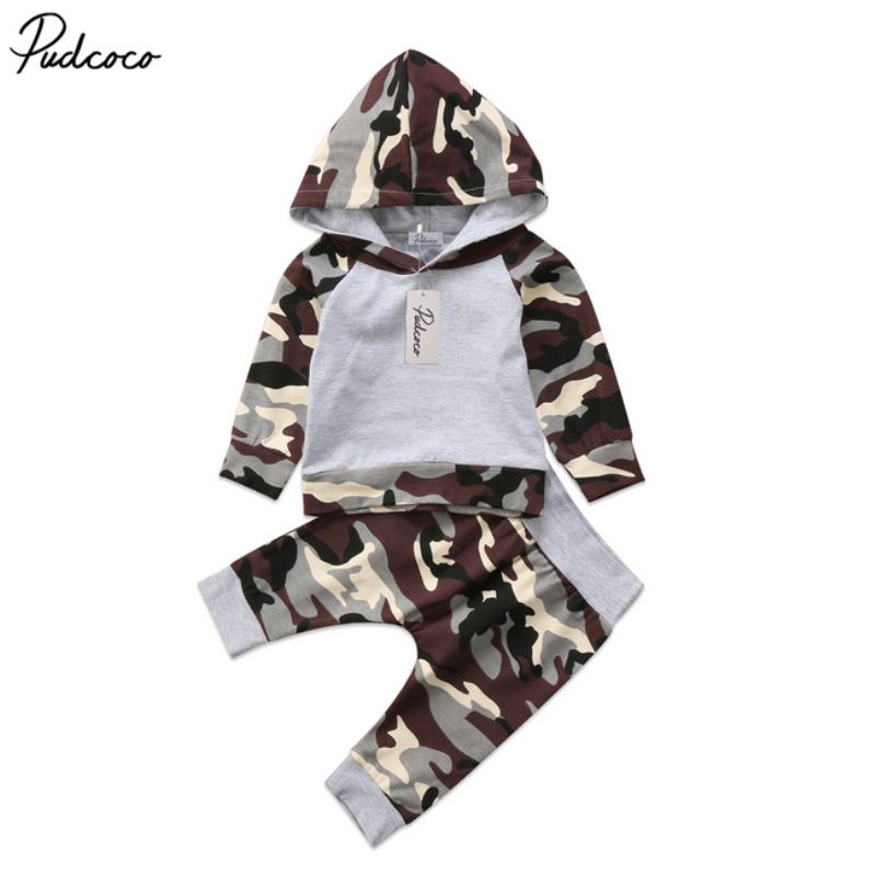 2Pcs Fashion Newborn Toddler Baby Boys Camo Hoodie Tops Pants Outfits Set Clothes 0-24M