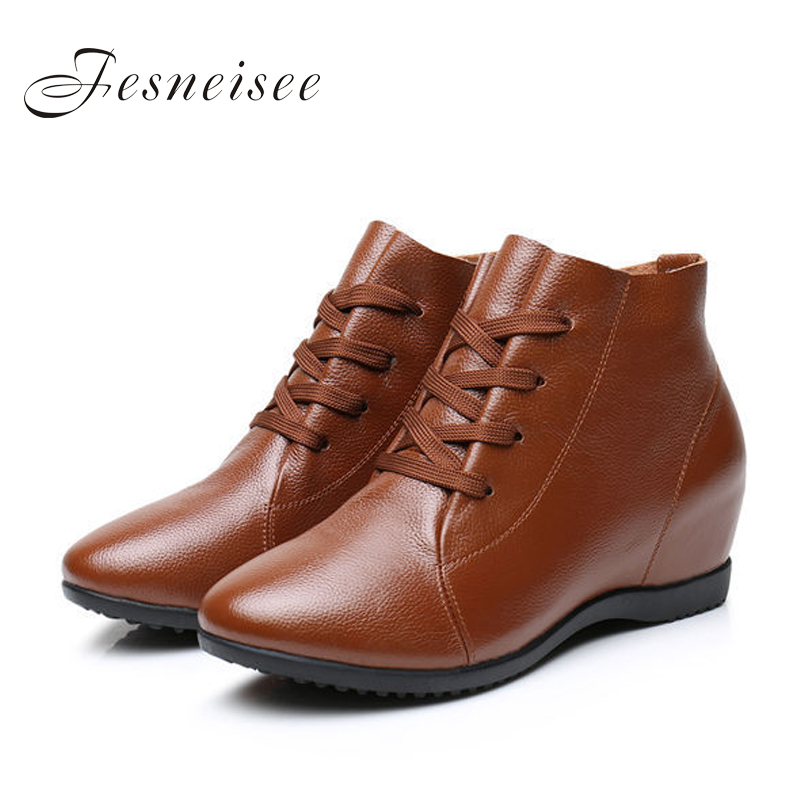 2019 New Fall Genuine Leather Flat Heel Women Single Shoes Women's Casual Boots Female Flats Height Increasing Boots Size41-43