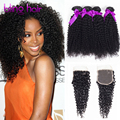 10A Annabelle Hair With Closure,Brazilian Virgin Hair With Closure 4 Bundles Kinky Curly Virgin Hair With Closure,Alipearl Hair