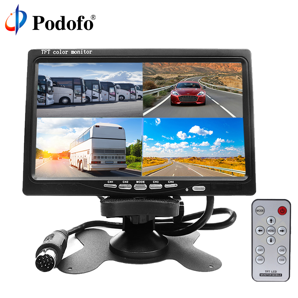 7 dual display built in quad combination lcd car monitor 4ch video input style parking dashboard for truck car rear view camera Podofo 7 4 Split Screen Quad Monitor 4CH Video Input TFT LCD Display DC 12V for Reversing Camera System Car Rear view Monitor