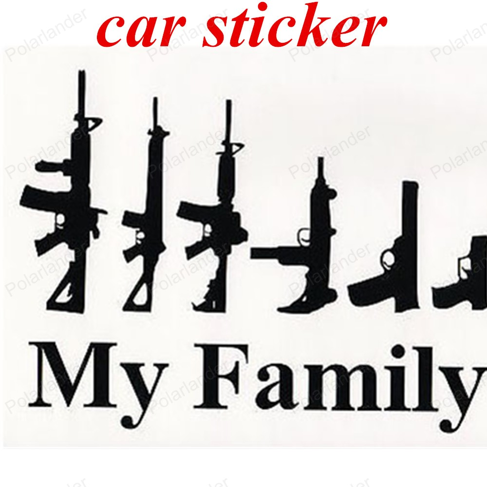 Car sticker design family - New Design Affixed To The Body Black Color Car Styling Stickers Cool Design Personality Vehicle Gun