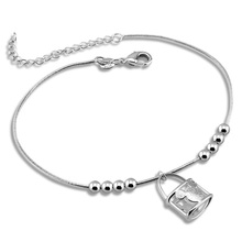 Fashion silver women anklets.Solid 925 sterling silver snake chain anklets.Cute girl bag pendant anklets. lady silver jewelry