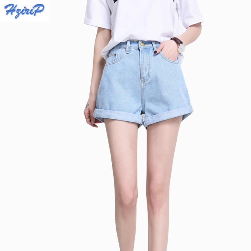 7c0e333af Hzirip 2018 Summer Vintage High Waisted Denim Shorts Women Plus Size Loose  Casual Solid Curling Short