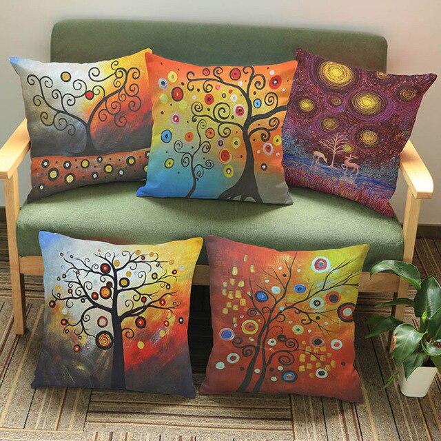 coussin décoratif pour canapé Vie Arbre Coloré Ciel Salon Coussin Décoratif Pour Canapé  coussin décoratif pour canapé