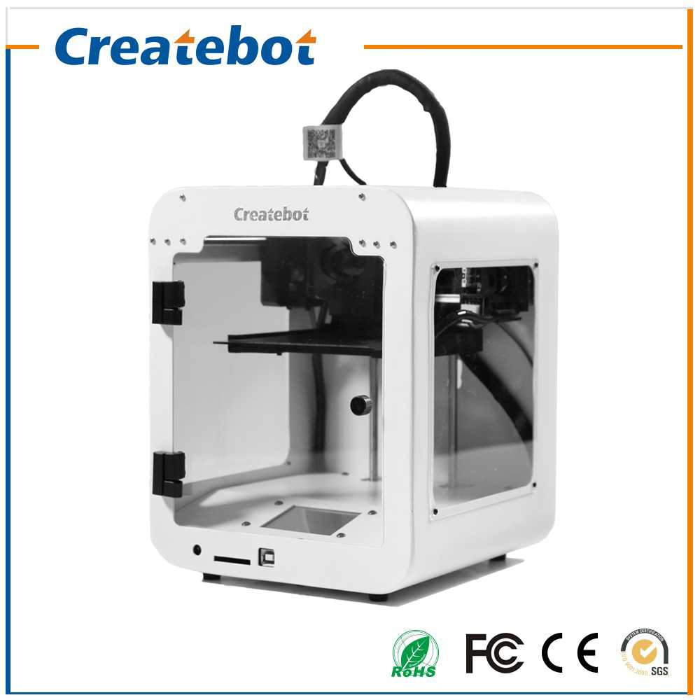 Createbot High Quality High Accuracy FDM Super Mini 3D Printer Snow White with Single Extruder USB Line Connect or SD Card high precision createbot super mini 3d printer no assembly required metal frame impresora 3d 1roll filament 1gb sd card gift