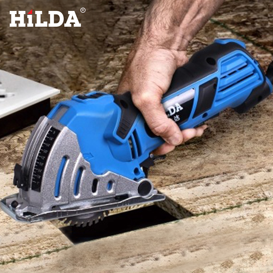 HILDA Mini Circular eléctrica vio DIY multifuncional sierra eléctrica herramientas eléctricas herramienta rotativa sierra circular para madera