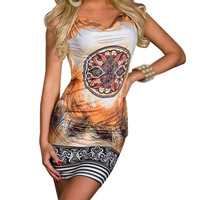 TFGS New Design Plus Size Sexy Mini Club Party Dress With Chain Vintage Printed Summer Casual