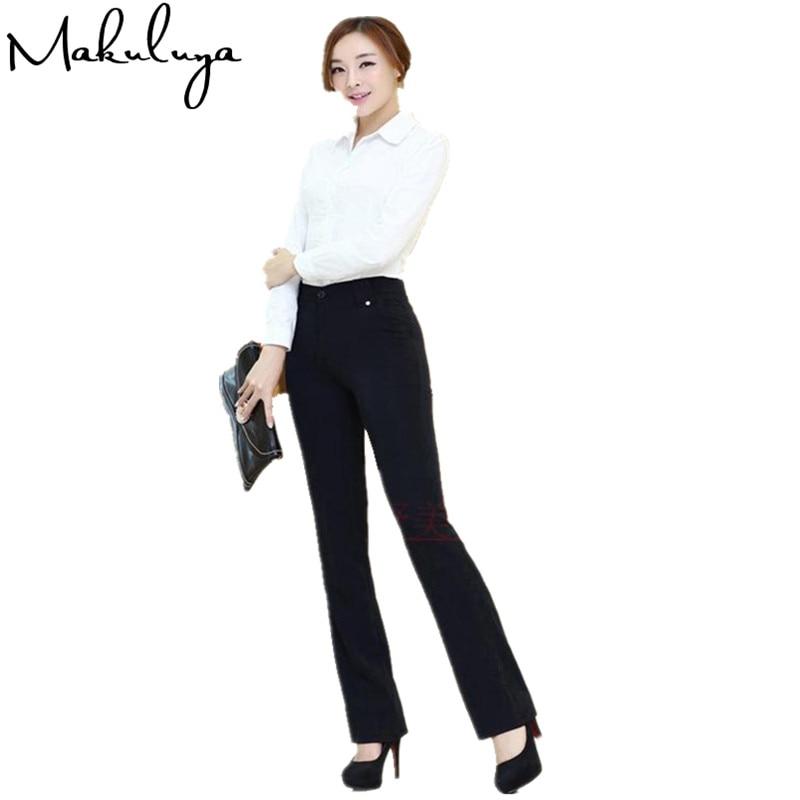 Makuluya 2018 Mejor Nivel Tela Formal Pantalones Mujer Pantalones De Corte Slim De Cintura Pantalones Casuales De Moda Carrera Pantalon L6 Jamiiprime Store
