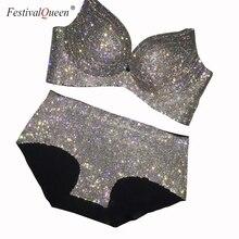 FestivalQueen Chất lượng cao Kim cương giả áo ngực 2 Miếng Bộ Nữ sang trọng gợi cảm handmade dây có đệm Bộ vàng bạc