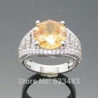 Круглая огранка 3ct цитрин SOLID 14 К Белое золото природных алмазов Обручение кольцо