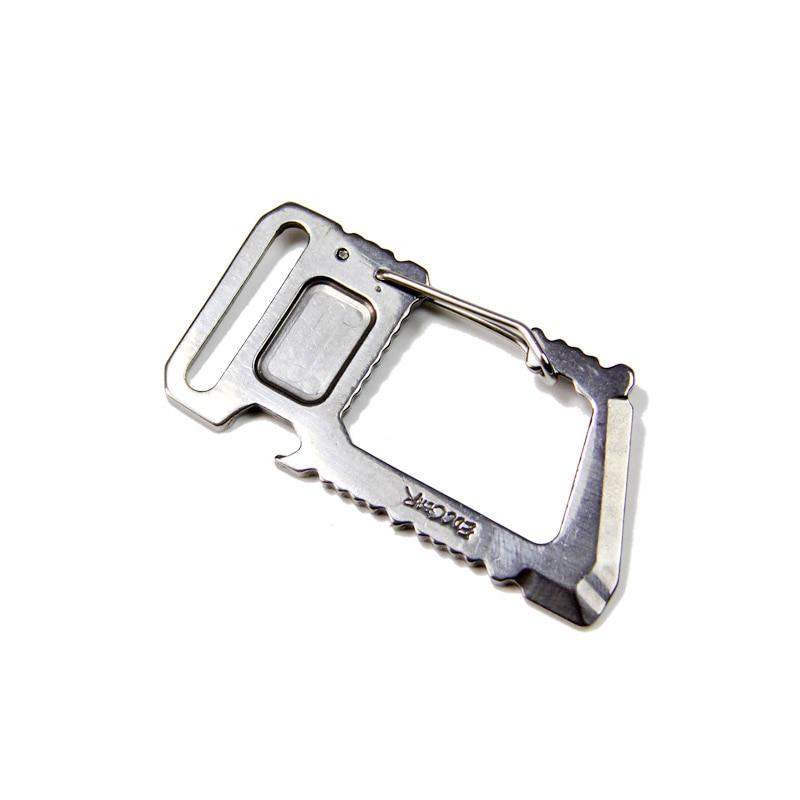 მრავალფუნქციური კომუნალური კარაბინერის კლიპი CLC EDC გარე მრავალფუნქციური ხელსაწყო Whar Biner Bottler Opener ყუთი გახსნა Prybar Scraper Screwdriver