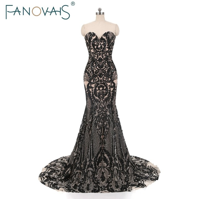 Black Mermaid Evening Dresses Vintage Shinning Evening Gowns Prom ...